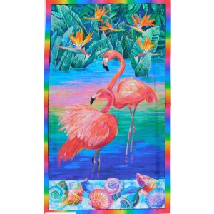 Patchwork Quilting Sewing Fabric FABULOUS FLAMINGOES Panel 67x110cm New