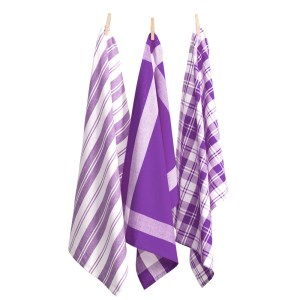 Country Vintage Modern Tea Towels Cotton Dish Cloths Set 3 LAVENDER New