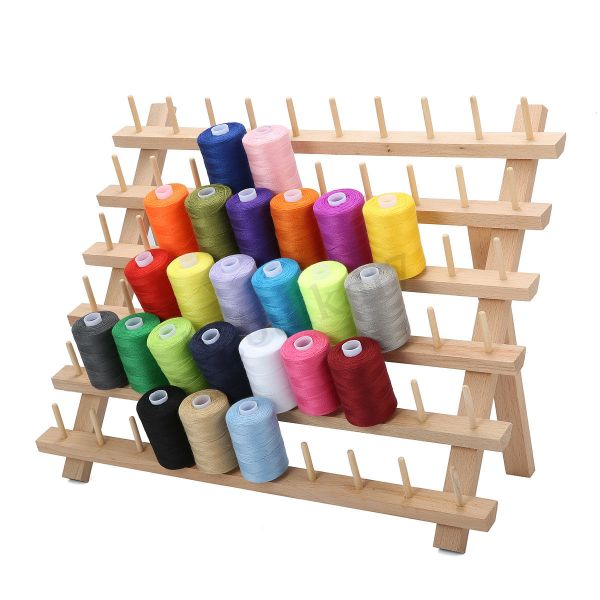 Quilting Patchwork Sewing 60 SPOOL RACK Wooden with Pegs to Hold Thread Spools New