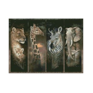 Ankicoleman Cross Stitch Kit PRIDE OF AFRICA ANIMALS Counted X Stitch New