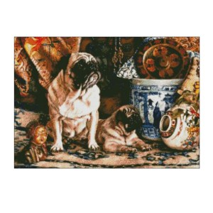 Ankicoleman Cross Stitch Kit PUG WITH PUPPY Counted X Stitch New