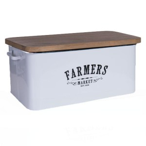 French Country Metal Enamel Retro FARMERS MARKET BREAD BIN Wooden Lid New