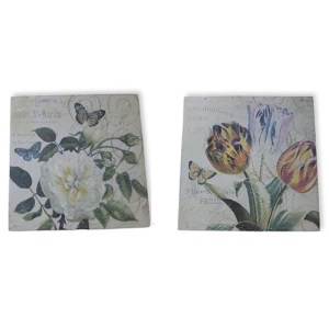 French Country Vintage Inspired Picture Wall Set 2 Flowers Hardboard Prints 2 New