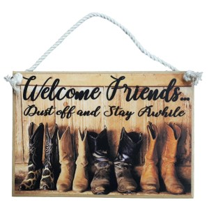 Country Printed Quality Wooden Sign Hanging Welcome Friends DUST OFF Plaque New