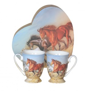 French Country Chic Kitchen 280mm Tea Mugs HORSE Set of 2 New Giftboxed