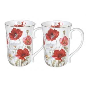 French Country Chic Kitchen 405mm Tea Coffee Mugs POPPIES Set of 2 New