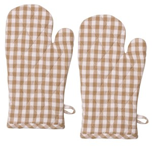 Gingham Check Kitchen Cooking Oven Gloves Set of 2 TAUPE Pot Mitts New