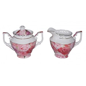 French Country Chic China Kitchen ENDURING ROSE Sugar and Creamer Milk Set New