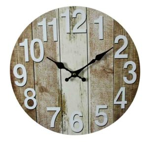 Clock French Country Vintage Wall Hanging 34cm VERTICAL WEATHERBOARDS New
