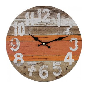 Clock French Country Vintage Wall Hanging 34cm SUNSET WEATHERBOARDS New