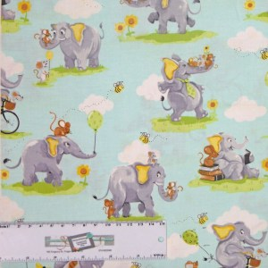 Patchwork Quilting Sewing Fabric SUSYBEE ELEPHANTS Allover 50x55cm FQ New