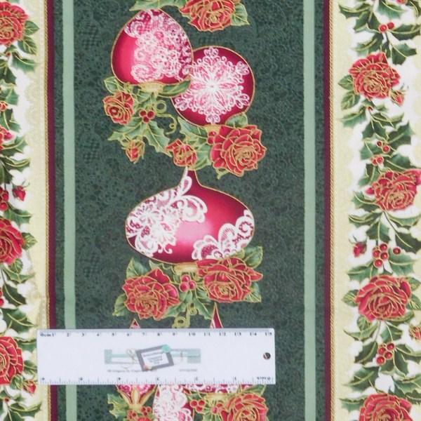 Patchwork Quilting Sewing Fabric FESTIVE SEASON GREEN Border 50x55cm FQ New