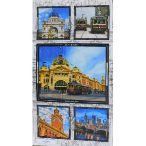 Patchwork Quilting Sewing Fabric MELBOURNE SIGHTS Panel 60x110cm New