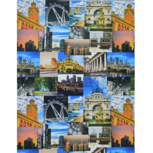 Patchwork Quilting Sewing Fabric MELBOURNE SIGHTS Allover 50x55cm FQ New