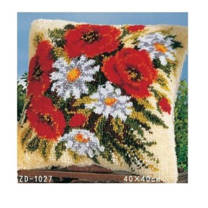 Crafting Kit Latch Hook with Canvas, Hook and Precut Threads POPPIES FLORAL New