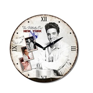 Clock French Country Vintage Wall Hanging ELVIS PRESLEY HILLBILLY Time 29cm New