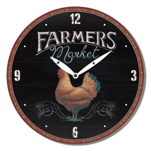 Clock French Country Vintage Wall Hanging FARMERS MARKET CHICKEN Time 29cm New