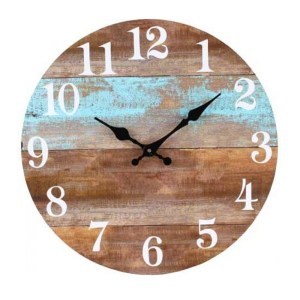 Clock French Country Vintage Wall Hanging 34cm SINGLE TEAL BORDER RUSTIC TIMBER New
