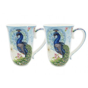 French Country Chic Kitchen 405mm Tea Coffee Mugs PEACOCK Set of 2 New