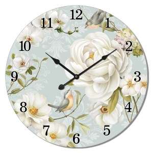Clock French Country Vintage Wall Hanging WHITE ROSE Time Large 60cm New