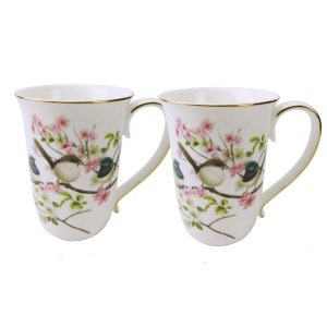 French Country Chic Kitchen 405mm Tea Coffee Mugs BLUE WREN Set of 2 New