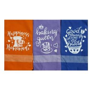 Set of 3 Tea Towels Kitchen Sayings MUTICOLOUR Handmade Teatowels New
