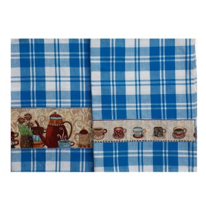 Country Style New Tea Towels Set of 2 COFFEE Handmade Teatowels New