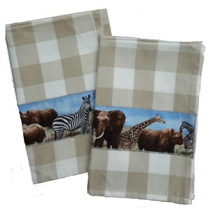 Country Style New Tea Towels Set of 2 AFRICAN Handmade Teatowels New