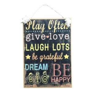 Country Printed Quality Wooden Sign With Hanger Play Often Give Love Plaque New
