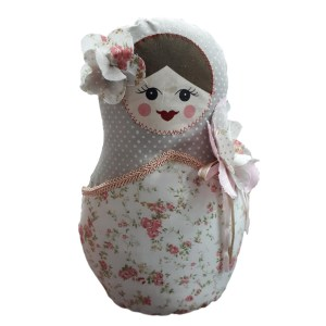 Cute Stuffed Fabric Russian Doll Babushka Style Grey Single Freestanding New