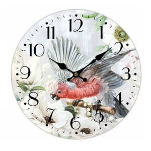 Clock French Country Vintage Wall Hanging 34cm GALAH PARROT New