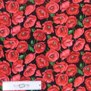 Quilting Patchwork Sewing Fabric POPPY BLOSSOMS 50x55cm FQ Material New