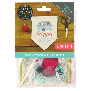 Cross Stitch HAPPY CAMPER X Stitch with Aida Fabric New Kit Including Threads