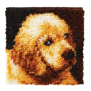 Wonderart Kit Latch Hook PUPPY LOVE with Canvas, Hook and Threads New