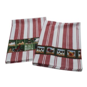 Country Style New Tea Towels Set of 2 CHICKENS RED STRIPE Teatowels New