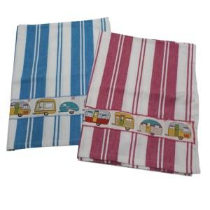 Country Style New Tea Towels Set of 2 RED CARAVANS Teatowels New