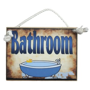 Country Printed Quality Wooden Room Door Sign BATHROOM New Plaque