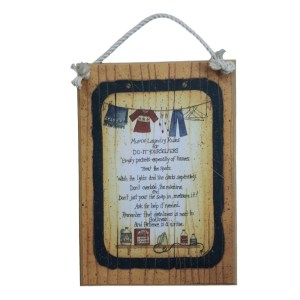 Country Printed Quality Wooden Sign MUMS LAUNDRY RULES New