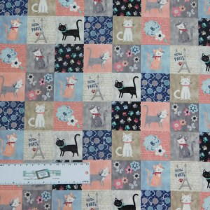 Quilting Patchwork Sewing Fabric I MEOW PARIS KITTEN 50x55cm FQ New
