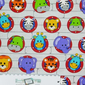 Quilting Patchwork Sewing Fabric LITTLE NOAH ANIMALS 50x55cm FQ New
