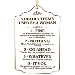 French Country Inspired Wall Plaque 5 DEADLY TERMS Wood Sign New