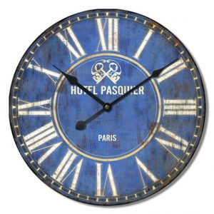 French Country Chic Retro Inspired Wall Clock 60cm HOTEL PASQUIER New