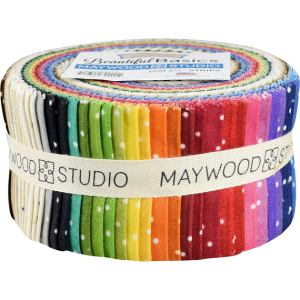 Quilting Jelly Roll Sewing BEAUTIFUL BASICS SCATTERED DOTS 2.5 Inch Strips Fabrics New