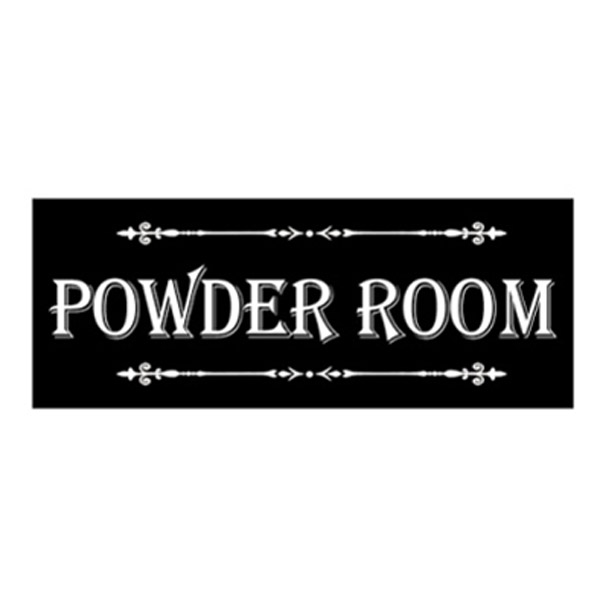 French Country Inspired Wall Plaque BLACK POWDER ROOM Wood Sign New