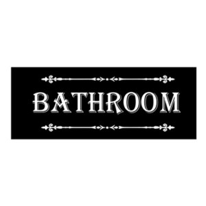 French Country Inspired Wall Plaque BLACK BATHROOM Wood Sign New