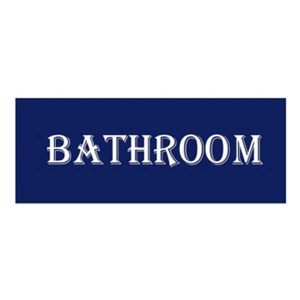 French Country Inspired Wall Plaque NAVY BATHROOM Wood Sign New