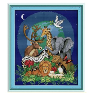 Cross Stitch Kit ANIMAL WORLD 2 X Stitch Joy Sunday Incl Threads New