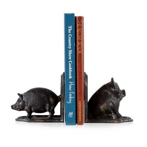 French Country Vintage Inspired Wrought Iron Art PIG BOOK ENDS New