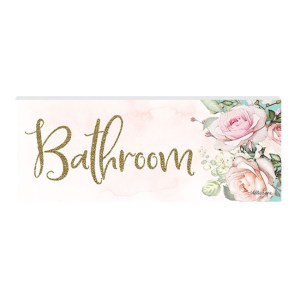 French Country Wall Art Plaque English Rose BATHROOM Wooden Sign New