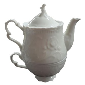 French Country Lovely Teapot WHITE CHINA TEA FOR ONE New
